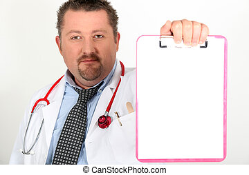 Doctor holding up a clipboard left blank for your message