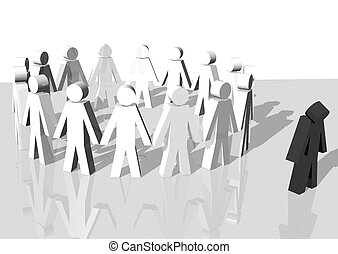 Racism - 3d rendering of a group of white men exlcuding a...