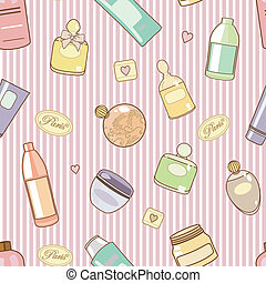 cosmetics-on-pink-pattern - seamless vector pattern with...