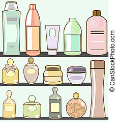 cosmetics - vector illustration of various cosmetics in...