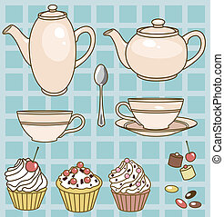 tea set - vector illustration of tea set with teapots,cups...