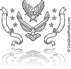 US Air Force military insignia - Doodle style military...