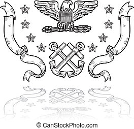 US Navy military insignia - Doodle style military rank...