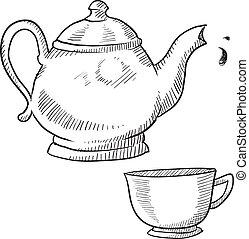 théière, ou, Cafetière, croquis