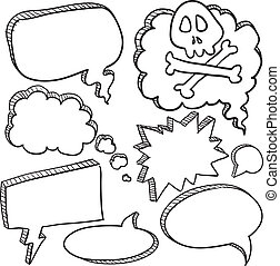 Cartoon conversation speech bubbles - Doodle style cartoon...