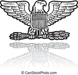SU Military eagle insignia - Doodle style military rank...