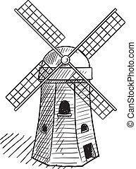Dutch windmill sketch - Doodle style sketch of a dutch style...