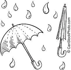 Rain umbrella sketch - Doodle style umbrellas and rain drop...
