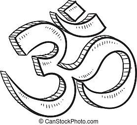 Hindu om sketch - Doodle style hindu om or yoga symbol...