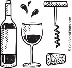 Wine objects sketch - Doodle style wine set illustration in...