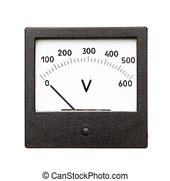 Voltmeter - Old voltmeter isolated on a white background