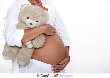 enceintes, femme, tenue, teddy, ours