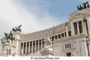 Equestrian monument to Victor Emmanuel II near Vittoriano at day in Rome, Italy