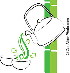 Green tea cups and teapot
