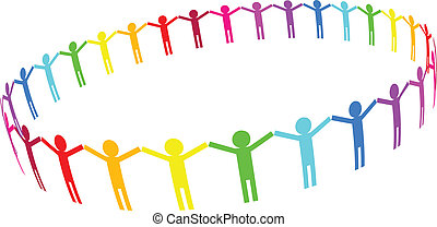 people in circle - Vector icon - people in circle