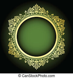 Vector green and gold frame - Vector green gold frame