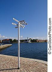 White signpost - A white signpost in Karlskrona harbor,...