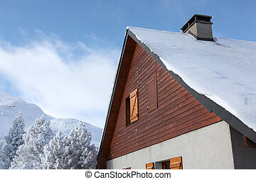 montanha, chalé, nevado