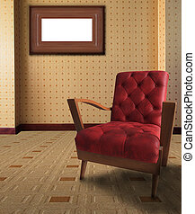 red arm chair in living room with p
