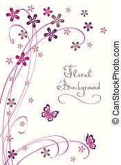 Cute Floral Background Modern Vector Card for different...