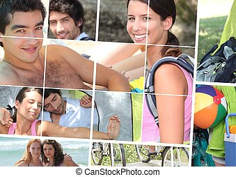 Montage of young people enjoying the summertime