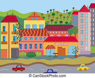 Cute bright city in summer