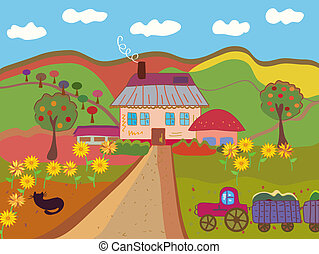 Cartoon farm at the autumn