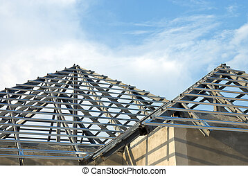 Roof structure under construction - Roof structure wait for...