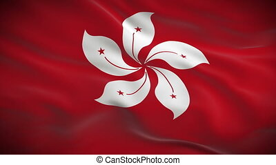 Highly detailed flag of Hong Kong ripples in the wind....