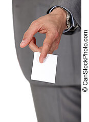 man giving a business card