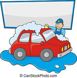Carwash man - Cartoon of a man in blue form hand washing a...
