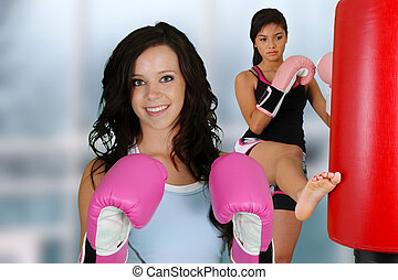 Teenagers Workout - Teenage girls working out in the gym