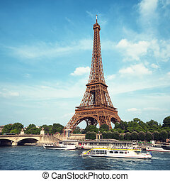 Eiffel Tower, Paris - Eiffel Tower and River Seine.
