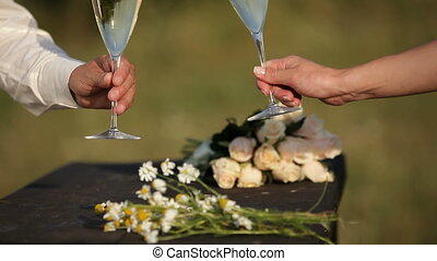 Bride and groom raising glasses - Bride and groom standing...