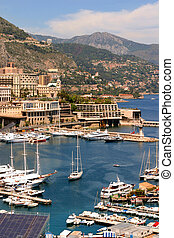 Monaco Harbor - Harbour pictured in principality of Monaco,...