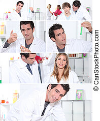 snapshots of male and female laboratory technicians