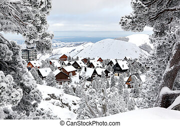 Snow covered chalets