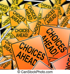 Choices concept - Abstract style illustration depicting many...
