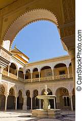 The interior patio of Casa de Pilatos, Seville, Spain