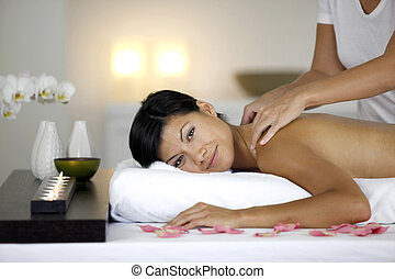 Woman receiving relaxing massage