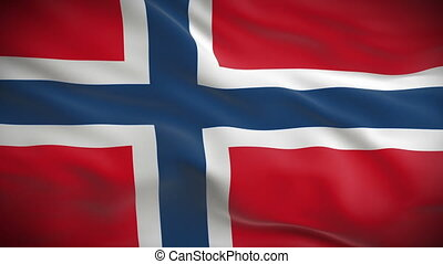 Highly detailed Norwegian flag ripples in the wind. Looped...