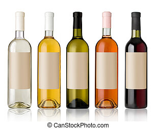 Set of wine bottles. - Set 5 bottles of wine with white...