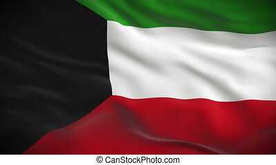 Highly detailed Kuwaiti flag ripples in the wind Looped 3d...