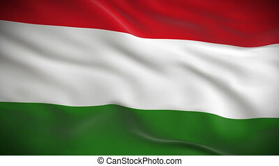 Highly detailed Hungarian flag ripples in the wind. Looped...