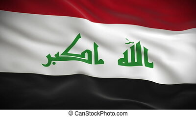 Highly detailed Iraqi flag ripples in the wind Looped 3d...