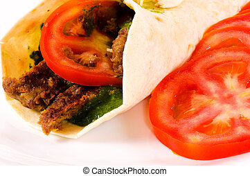 Doner kebab with tomato