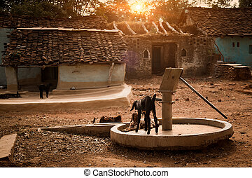 Drought and Water handPump - Old dried water hand-pump in...