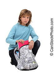Menino, embalagem, escola, saco