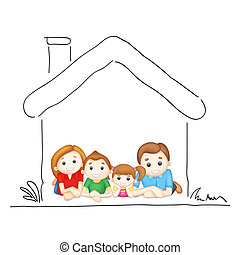 Family in Sweet Home - illustration of happy family laying...