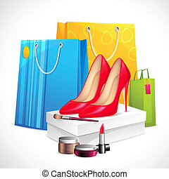 Sale Product - illustration of shoe and cosmetics with...